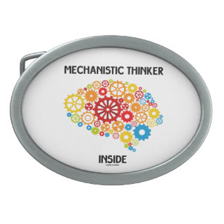 Mechanistic Thinker Inside (Gears Brain) Oval Belt Buckle