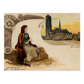 Mechelen lace making litho ca 1900 postcard