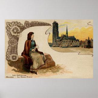 Mechelen lace making litho ca 1900 poster
