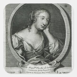 Medallion portrait of Madame de La Fayette Square Sticker