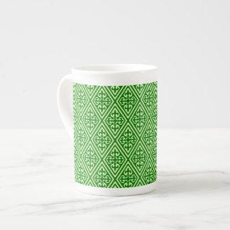 Mediaeval Damask Diamonds, dark pine green Tea Cup