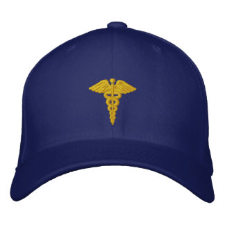 Medical Caduceus Gold Embroidered Hat