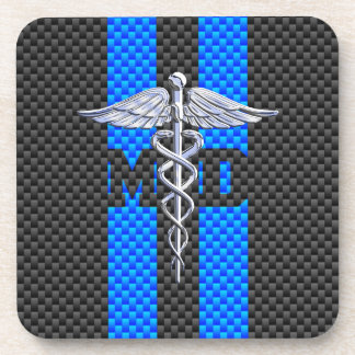 Medical Doctor MD Caduceus Carbon Fiber Stripes Coaster