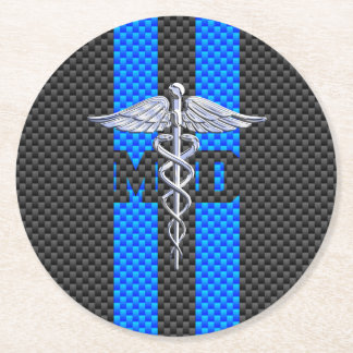 Medical Doctor MD Caduceus on Carbon Fiber Decor Round Paper Coaster