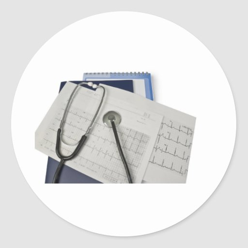 medical stethoscope on cardiogram EKG readings Sticker
