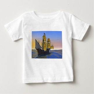 Medieval Carrack Leaving the rough water at Sunset Baby T-Shirt