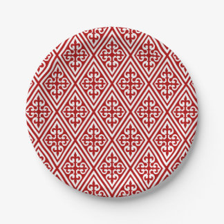Medieval Cross Damask - Deep Red and White 7 Inch Paper Plate