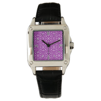 Medieval Damask Diamonds, amethyst purple Watch