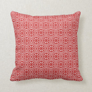 Medieval Damask Diamonds, red and white Pillows