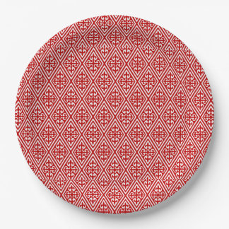 Medieval Damask Diamonds, red and white 9 Inch Paper Plate