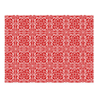 Medieval Damask Diamonds, red and white Postcard