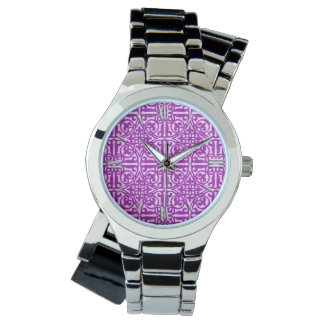 Medieval Damask Fleur-de-lis, amethyst purple Watch