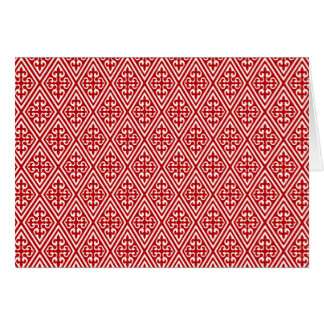 Medieval Damask Fleur-de-lis, red and white Card