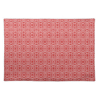 Medieval Damask Fleur-de-lis, red and white Placemats