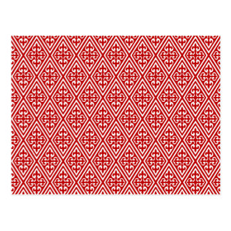 Medieval Damask Fleur-de-lis red and white Postcards