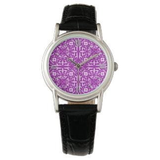 Medieval Damask pattern, amethyst purple Watch