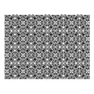Medieval Damask pattern, black and white Postcard