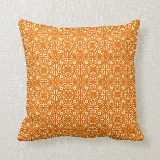 Medieval Damask pattern, mandarin orange Pillows