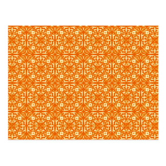 Medieval Damask pattern, mandarin orange Postcards