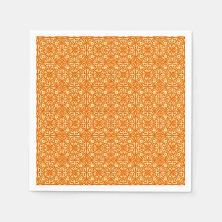 Medieval Damask pattern, mandarin orange Disposable Napkin