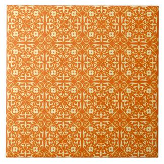 Medieval Damask pattern, mandarin orange Ceramic Tiles