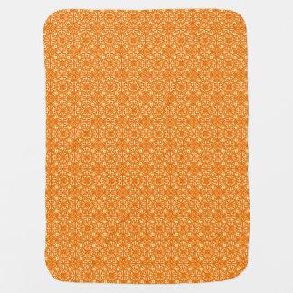 Medieval Damask pattern, mandarin orange Receiving Blanket