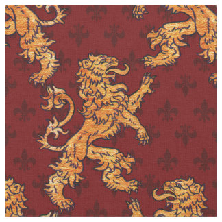 Medieval Gold Lion Red Fleur de Lis Fabric