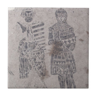 Medieval Knights Graffiti Small Square Tile