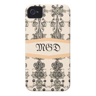 Medieval monogram art nouveau unisex beige design iPhone 4 cover