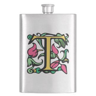 Medieval Monogram Letter T Hip Flask