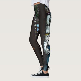 Medieval pattern in blue and white leggings