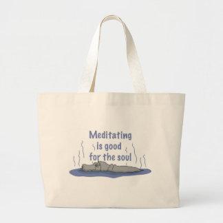 Meditating Hippopotamus Large Tote Bag
