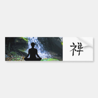 Meditating Silhouette by Waterfall Bumper Stickers