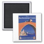 Mediterranean Cruises Ship Line Vintage Travel Square Magnet