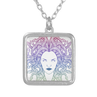 Medusa Head Silver Plated Necklace