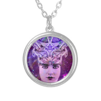 Medusa Snake Woman Silver Plated Necklace