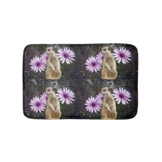 Meerkat And Purple Daisies, Bath Mat