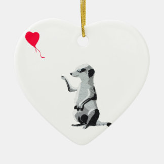 Meerkat and the red balloon ceramic heart decoration
