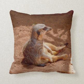 Meerkat Lazy Days, Throw Cushion. Throw Pillow