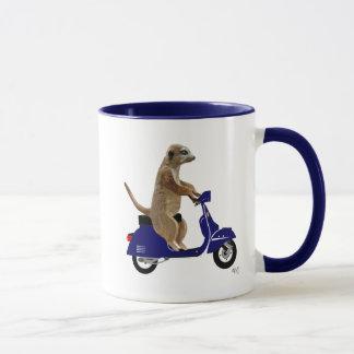Meerkat on Dark Blue Moped Mug