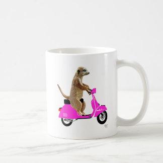 Meerkat on Pink Moped Coffee Mug