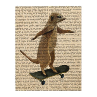 Meerkat On Skateboard Wood Wall Art