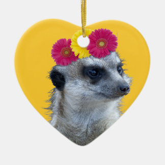 Meerkat with 3 bright gerber daisies christmas ornament