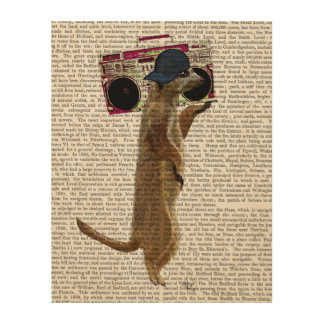 Meerkat with Boom Box Ghetto Blaster Wood Wall Art