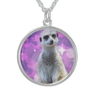 Meerkat With Sparkle, Sterling Silver Necklace
