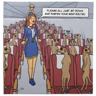 Meerkats on a Plane Cloth Napkins