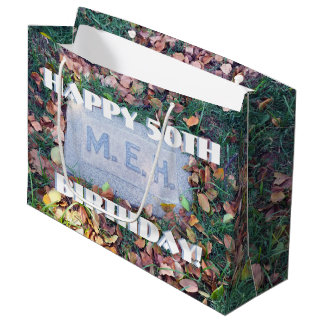 Meh Gravestone Morbid Humor Funny Custom Birthday Large Gift Bag