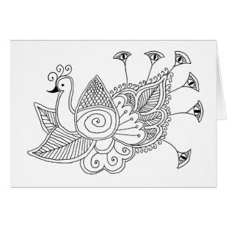 Mehendi Peacock Card
