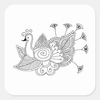 Mehendi Peacock Square Sticker