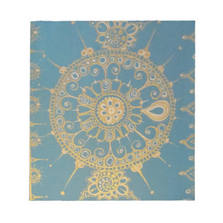 Mehndi Inspired Design (Blue and Gold) Notepad